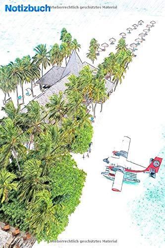 """Notizbuch: Flugzeug in der Insel in der Nähe des Meeres und der Sonne: 6 \""""x 9\"""", 103 Seiten, College-Version für Studenten, Schulen und Universitäten"""