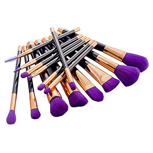 15PCS De Maquillage Haut De Gamme Brosse Set Marque Synthétique Professionnel Jusqu'à Pinceau Pour Le Visage Et Des Yeux Cosmétiques Litchi Pinceau De Maquillage Ensemble De Roncenoire (Violet),Violet