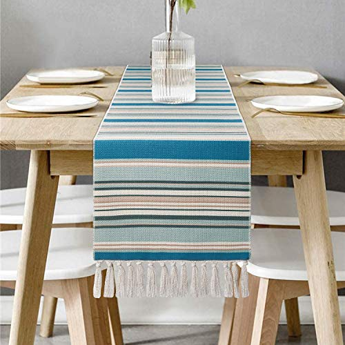 Bateruni Teal Striped Table Runner, Non-Slip Heat-Resistant Table Runner Tablecloth for Dining Table Party Banquet Wedding 71x14 Inches Blue