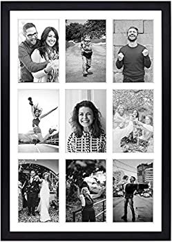 Golden State Art 13.6x19.7 Black Photo Wood Collage Frame with Real Glass and White Displays  9  4x6 Pictures