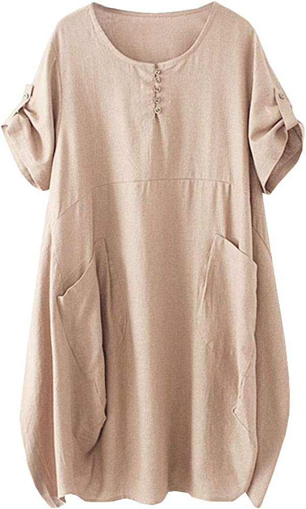 HOOBEE LINEN Women's 大人気 Short Sleeve Loose Poc with Top Baggy Dress 高価値