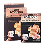 Rose Gold Luxury Hydrating Korean Face Mask - Reduces Fine Lines and Wrinkles | Combats Skin Damage | Helps Restore Natural Skin Tone - 5 Pack