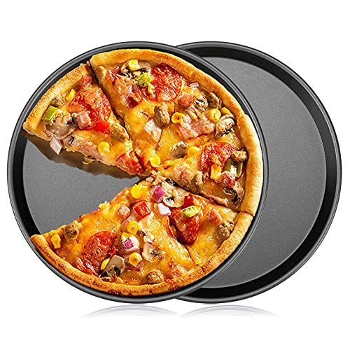 Pizza Pans,Baking Tray Perforated Pizza Plate Nonstick Carbon Steel Pizza Pan, Pizza Tray Round for Oven (2pc-12.5'')