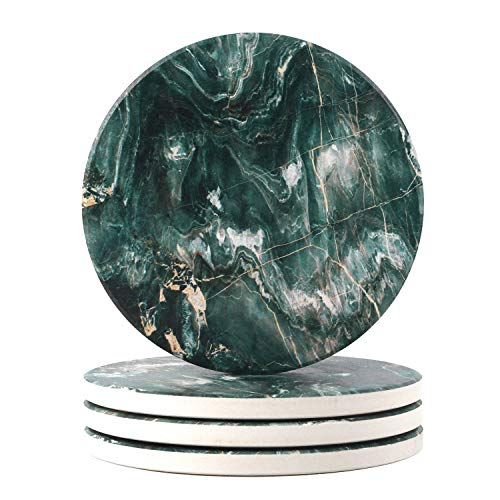 Ailsan Coasters for Drinks, Absorbent Dark Green Marble Pattern Style Coasters 4-Piece Set, Ceramic Drink Coaster and Cork Base for Tabletop Protection for Kinds of Table, Mugs and Cups Gift Ideas