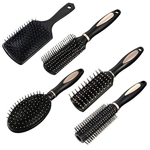 fanshiontide 5 Stück Haarbürstenset,Antistatische Massage Ovaler Kamm Runde Haarbürste Entlüftungshaarbürste für Nasses Oder Trockenes Haar Entwirren,Massieren,Glanz hinzufügen