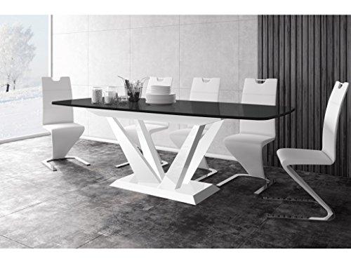 H MEUBLE Table A Manger Design Extensible 160÷260 CM X P : 89 CM X H: 75 CM – Noir