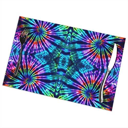 Hangdachang Juego de manteles Individuales Tie Dye Perfection para Mesa de Comedor...