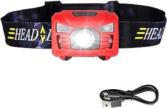 JSJJQAZ koplampen Bewegingssensor Koplamp Mini Koplamp Oplaadbare Outdoor Camping Zaklamp Met USB Opladen (Kleur: Rood)
