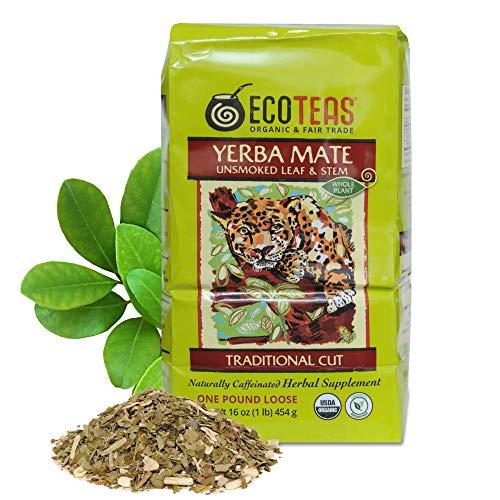 ECOTEAS - Organic Yerba Mate Loose Tea Traditional Cut - 1 Lb - Detox Tea -Yerba Mate Tea - Hi Caf Tea - Yerba Mate Energy Burst - Ecoteas Yerba Mate