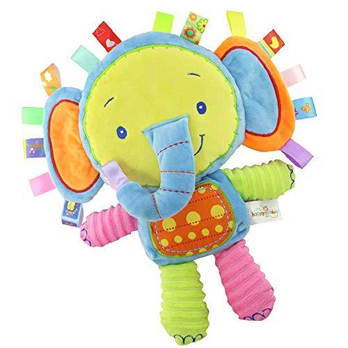 Inchant Taggies Manta de seguridad Juguete relleno de elefante, Juguete sensorial de felpa para bebés con cintas y sonajero, Regalos para bebés para bebés, Niños pequeños