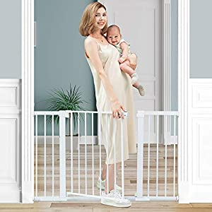 Tokkidas 51.6-Inch Walk Thru Baby Gate, Extra Wide Safety Baby Gates Includes 2.75″, 5.5″ and 11″ Extension, Adjustable Metal Fence for Toddler/Pet/Dog/Cat/Puppy – Ideal for Openings/Stairs/Doorways