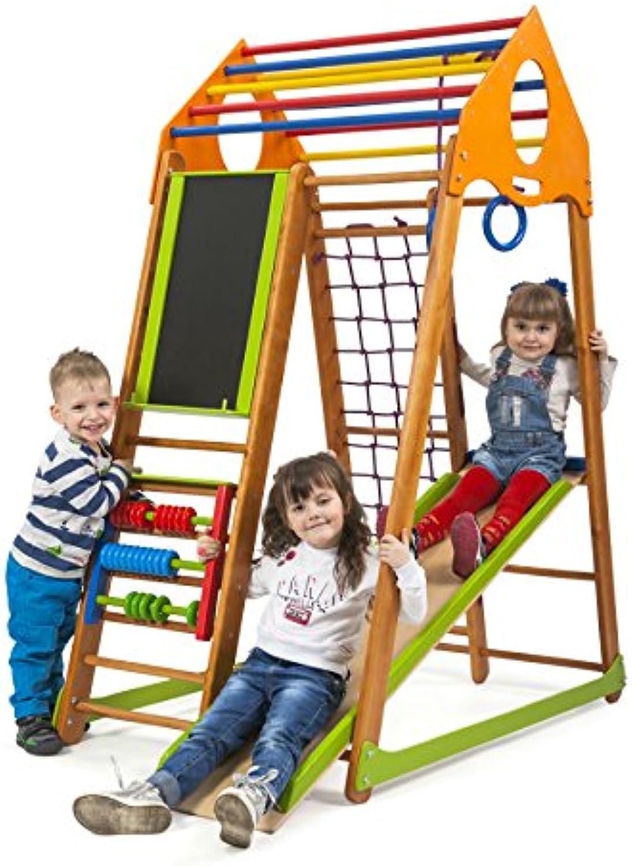 Kinder zu Hause aus Holz Spielplatz mit Rutschbahn Bambinowood-Plus  Kletternetz Ringe Kletterwand Abakus Tafel