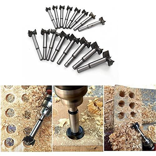SPRINGHUA 16 piezas de 15-35mm Brocas Forstner Set,Tratamiento de la madera agujero consideró el sistema cortador de madera Auger Abridor Kits de herramienta de perforación,carburo de bits