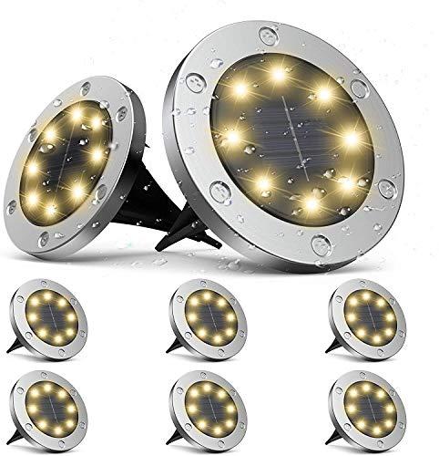 Solarleuchten Garten, infray Solarleuchten für außen, Solar Bodenleuchten außen mit 8 LEDs, Solarlampen für außen IP65 wasserdicht, Solar Wegeleuchten LED Solarlicht Garten warmweiß 8er