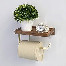 Toiletrolhouder,massief Hout Zwart Walnoot Messing Papieren Handdoekhouder Geen Boor Toiletrolhouder Voor Badkamer