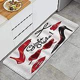 VINISATH Tappeti Cucina Antiscivolo Tappeti per Cucina Lavabile Tappetino Bagno Zerbino Tappeto Cucina Passatoia,Moda donna trucco vettoriale scarpe col tacco alto con labbra rosse