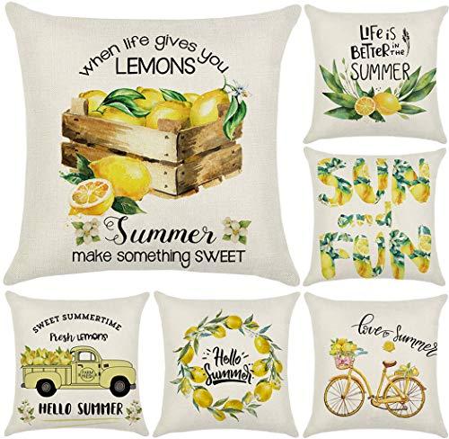 wtisan Lemon Decor Pillow Covers,Summer Pillow Covers 18X18,Farmhouse Outdoor Yellow Pillow Covers,Lemon Buffalo Check Truck Theme Home Decor for Patio Couch Sofa,Set of 6