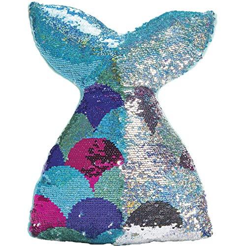"iscream Mermazing Mermaid Tail 19"" Reversible Sequin Soft Fleece Back Accent Pillow"