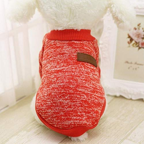 Dog Clothes Warm Sweater Soft Chihuahua Coat Pet for Dog Puppy Outfit Dogs Jacket Winter Small Clothing Clothes,Red,XS