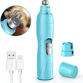 RUCACIO Dog Nail Grinder Electric Pet Paw Clipper Trimmer for Small Medium Large Breed Dog Cat Paws Grooming & Smoothing - Professional 2 Speed Electric Recharging Animals Nail Grinder