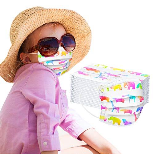 CHYOU 100PCS Disposable 3-Layer Face Màsc Bandanas Multicolor Face Bandanas for Kids, Outdoor Activities(100PC,AA#Multicolor)