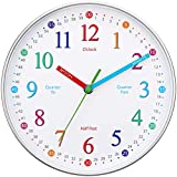 Wise Hedgehog Telling Time Teaching Clock, Silent Non Ticking Analog Battery Operated Learning Clock for Kids, Perfect Room & Wall Decor for School Classrooms, Playrooms and Kids Bedrooms