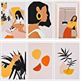 6 Pcs Abstract Line Art Wall Posters, Minimalist Wall Art Prints - Waterproof Tear-resistant Canvas Modern Aesthetic Drawing Posters, for Girls Women Home Bedroom College Dorm Decor, 8.3 x 11.8 in