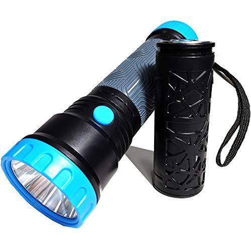 AOTEGANG Linterna de Emergencia Manivela - Linterna de batería de Agua Nueva súper Brillante - Linterna Impermeable con Reflector de Mano de 7000 mAh Ideal para Acampar emergencias al Aire Libre