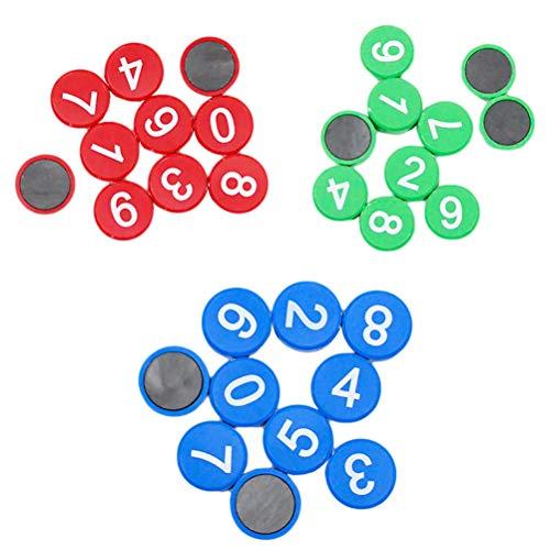 Toyvian Nummern-Magnete, rund, Kühlschrank-Whiteboard-Aufkleber, für Zuhause, Büro, Schule, Supplies 30 Stück (Rot, Grün, Blau)