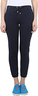 VIMAL Women's Cotton Blend Trackpants, Small(Navy Blue, F4NAVY01-S)
