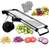 Mandoline Slicer with Protective Gloves -VEKAYA, Slice Julienne for Cheese Carrot Potato Chip OnionFrench Fry, Efficient Kitchen Cutter Chopper for Vegetable Time Saver