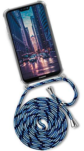 OneFlow® Correa Compatible con Huawei Mate 20 Lite | Cordón y Funda de Silicona Transparente, Bleu/Bleu Clair