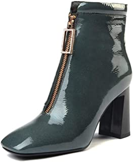 green patent leather boots