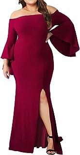 f7b2d2af35a Lalagen Women s Plus Size Off Shoulder Bodycon Long Evening Party Dress Gown