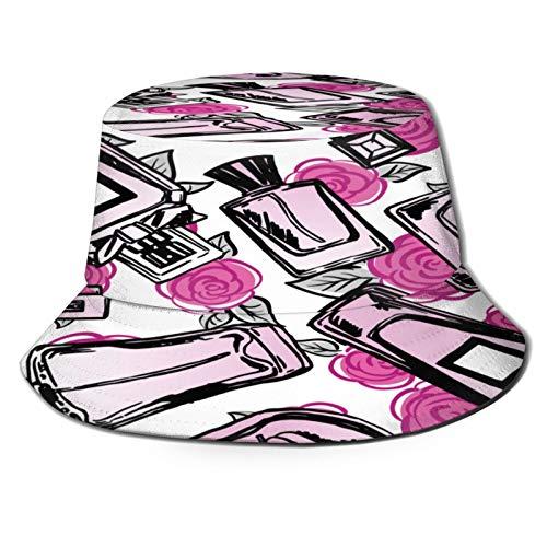 RUEMAT Sombrero Pescador Unisex,Vector patrón de Perfume Transparente,Plegable Sombrero de Pesca Aire Libre Sombrero Bucket Hat para Excursionismo Cámping De Viaje Pescar
