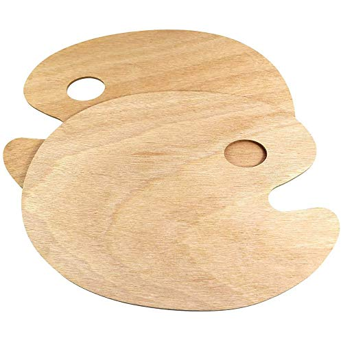 Limeow Mischpalette für Künstler Holz Malpalette Acrylfarben Malerei Mischpalette Holz Malpalette Griffloch Malen Palette für Aquarell und Ölfarben 2 Stücke für Malen