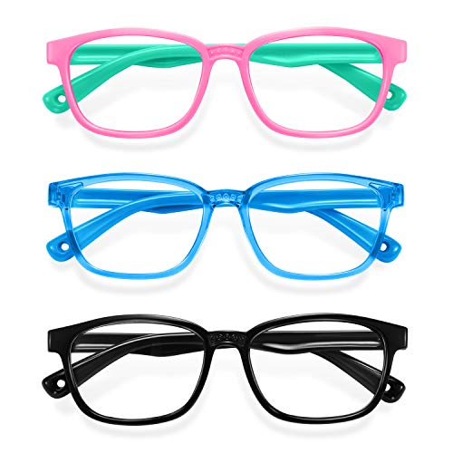 Blue Light Glasses for Kids 3 Pack Anti Glare & Eye Strain Glasses Computer TV Phone Tablets UV Protection Glasses for Kids Boys Girls Age 3-12(Pink Green + Transparent Blue + Black)