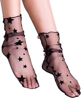 Verano de las mujeres Sheer Slouch Calcetines red Mujer transparente floja de medias de mujer calcetines de encaje
