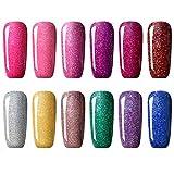 CLAVUZ Nail Gel Polish Kit Soak Off UV LED 12pcs Neon Bling Nail Varnish Fashion Shimmer Nail Art Manicure Pedicure Decor Gift Set 8ml