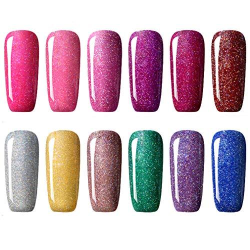 CLAVUZ Gel Nail Polish Kit Soak Off UV LED 12pcs Neon Bling Nail Varnish Fashion Shimmer Nail Art Manicure Pedicure Decor Set