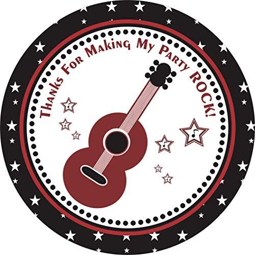 Adorebynat Party Decorations - EU Gitarren-Rockstar-Aufkleber - Danke für meine Party Rock - Jungen-Mädchen-Bevorzugungs-Aufkleber - Satz von 30