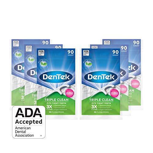 DenTek Triple Clean Floss Picks   No Break Guarantee   90 Count   6 Pack