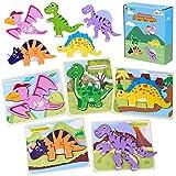 Rompecabezas de Dinosaurios de Madera de Juguete, CGBOOM 5 Piezas de Rompecabezas de Madera para Niños, Juguetes Educativos Preescolares Para Niñas Y Niños de 3 Años en Adelante