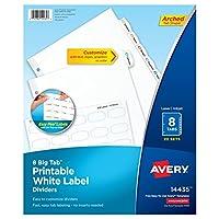 Avery Big Tab 印刷可能 ホワイトラベル仕切り 簡単に剥がせる タブ8本 20セット (14435)