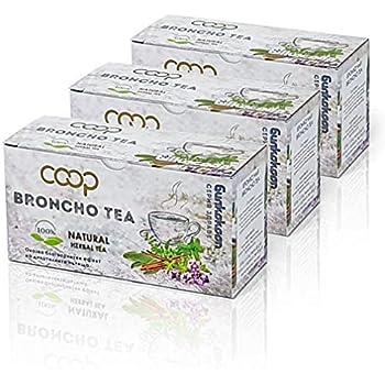Broncho Tee, Kräutertee -Zeigt eine wohltuende Wirkung auf die Atemwege an, 3 Packungen zu 20 Filterbeuteln (60 x 1,0 Gramm), 100% Natural