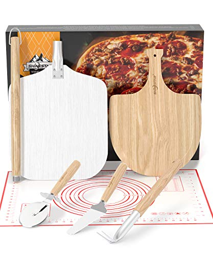 """SHINESTAR Aluminum Pizza Peel Set, Includes 12"""" x 14"""" Pizza Peel Metal with Detachable Handle, Wooden Pizza Paddle, Outdoor Pizza Oven Accessories for Oven or Grill"""