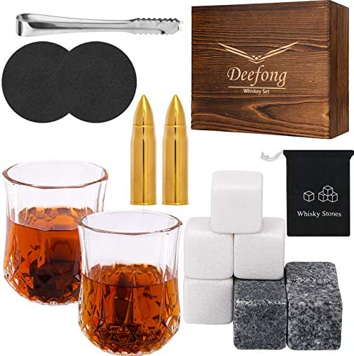 Deefong Whiskey Stones Set Whiskey Glass Gift Boxed Set Bourbon Granite Chilling Cubes Marble product image