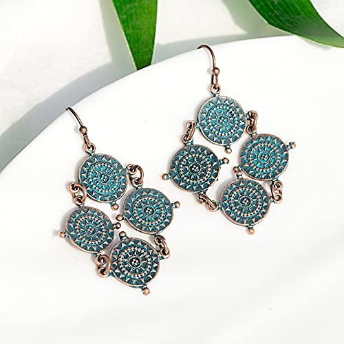 FEARRIN Pendientes pequeños Pendientes Vintage para Mujer Pendientes Bohemios para Mujer Pendientes Decorativos de Verano Style3