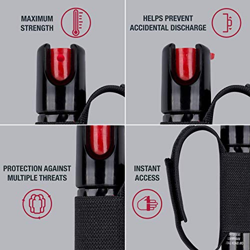 SABRE RED Pepper Gel Spray for Runners – Gel is Safer – Maximum Police Strength OC Spray, Adjustable Hand Strap for Quick Access while Running – Optional Clip-on 120dB Personal Alarm w/LED Light