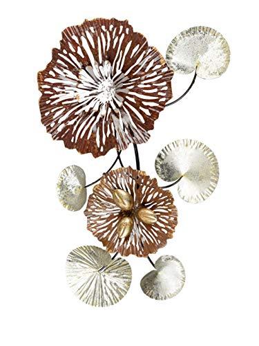 Formano Wanddeko Blume Blätter aus Metall Mehrfarbig Verschiedene Größen (62x36cm)